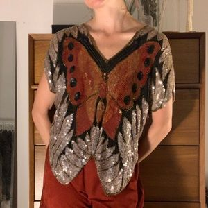 Tops - Vintage sequin butterfly blouse